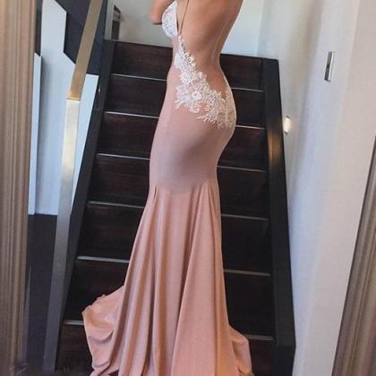 Sexy Backless Prom Dress, Mermaid P..