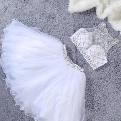 Cute Two Piece Jewel Sleeveless Whi..