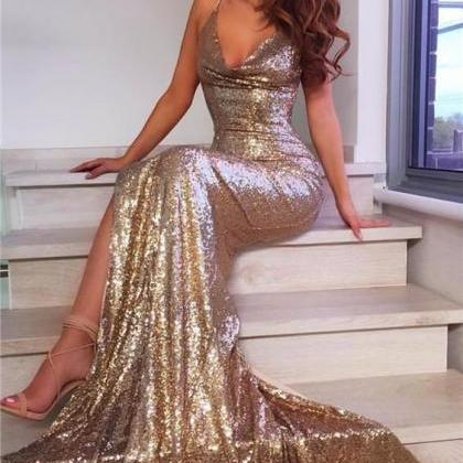 V Neck Mermaid Gowns,Long Sequins P..