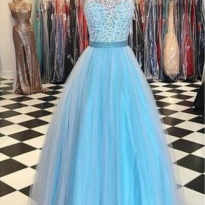 NEW SKY BULE TULL LACE BALL GOWNS P..