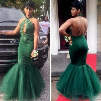 Dark Green Black Girls Mermaid Prom..