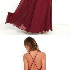 burgundy long prom dress, halter ch..