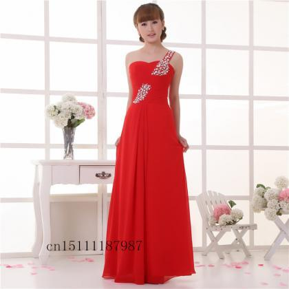 new red shoulder evening dress fash..