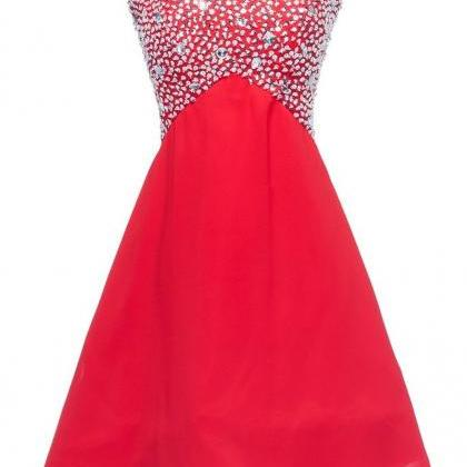Red Beaded Sweetheart Neckline Chif..