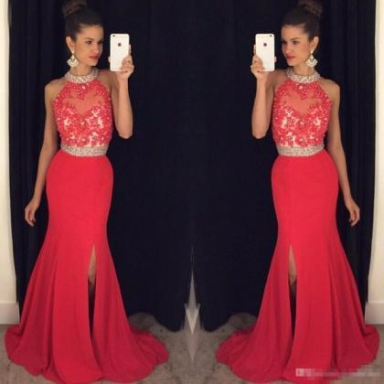 Prom Dresses Long Crystals Beaded H..