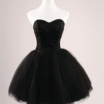 Black Prom Dress Strapless Ball Gow..