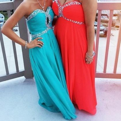 Prom Dresses Sexy Turquoise Crystal..