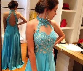 Blue Prom Dress,Lace..
