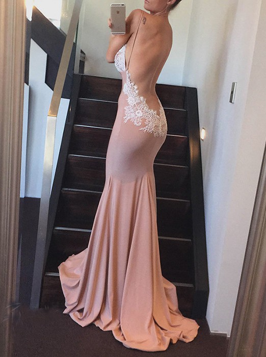 Sexy Backless Prom Dress, Mermaid Prom Dress, Long Prom Gowns, V-neck Evening Dress, Bridesmaid Dress with White Lace, Sexy Woman Dress for Prom