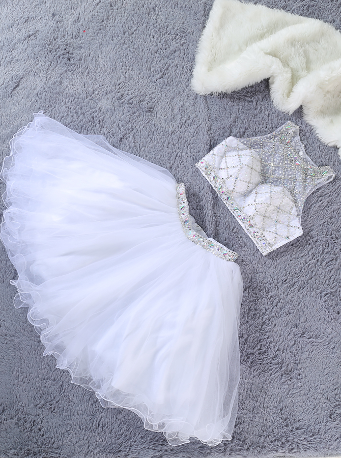 Cute Two Piece Jewel Sleeveless White Tulle Short Homecoming Dress with Beading