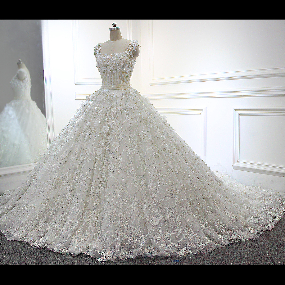 Full Beading Luxury Ball Gown White/Ivory Wedding Dresses