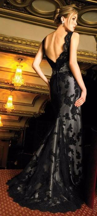 Black Lace Over Silver Satin Mermaid Wedding Dresses Prom Dresses