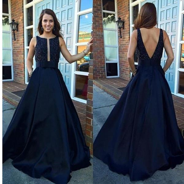2017 V-Back Ball Gown Vintage A-line Modest Beading Long Prom Dresses