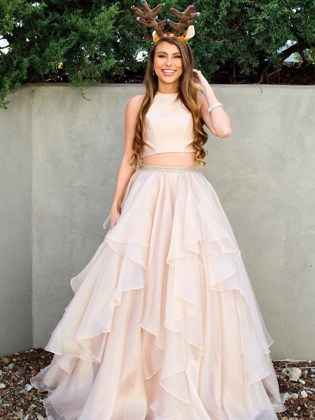 dc35c3c751a Two Piece Prom Dresses A-line Scoop Floor-length Long Sparkly Chic Prom  Dress