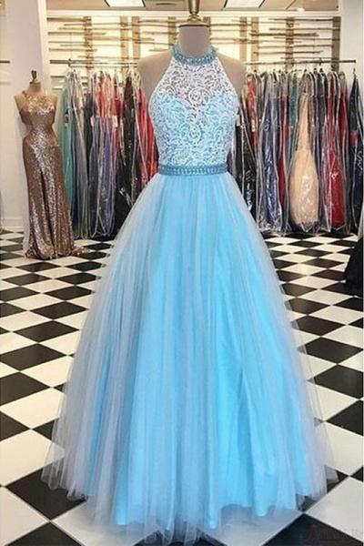 NEW SKY BULE TULL LACE BALL GOWNS PROM DRESSES