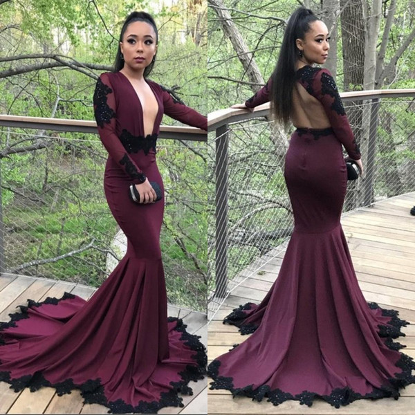 2018 African Sexy Deep V-Neck Burgundy Mermaid Prom Dresses Backless Long  Sleeves Appliques Evening 4e835fb66