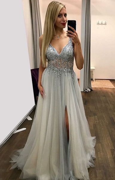 A-Line V-Neck Sweep Train Grey Tulle Prom Dress with Beading, modest grey v neck long prom dresses with beading, unique tulle evening dresses