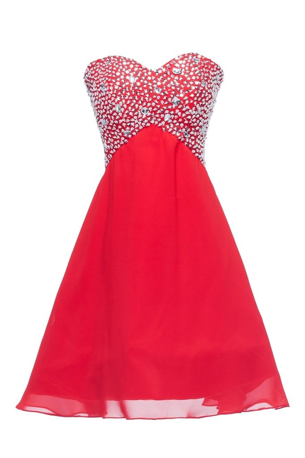 Red Beaded Sweetheart Neckline Chiffon Knee Length Bridesmaid Dress, Homecoming Dress