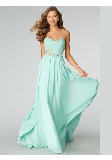 prom dresses Women A-line Sweetheart Sleeveless Chiffon Prom Dresses With Beaded Bridal Gowns