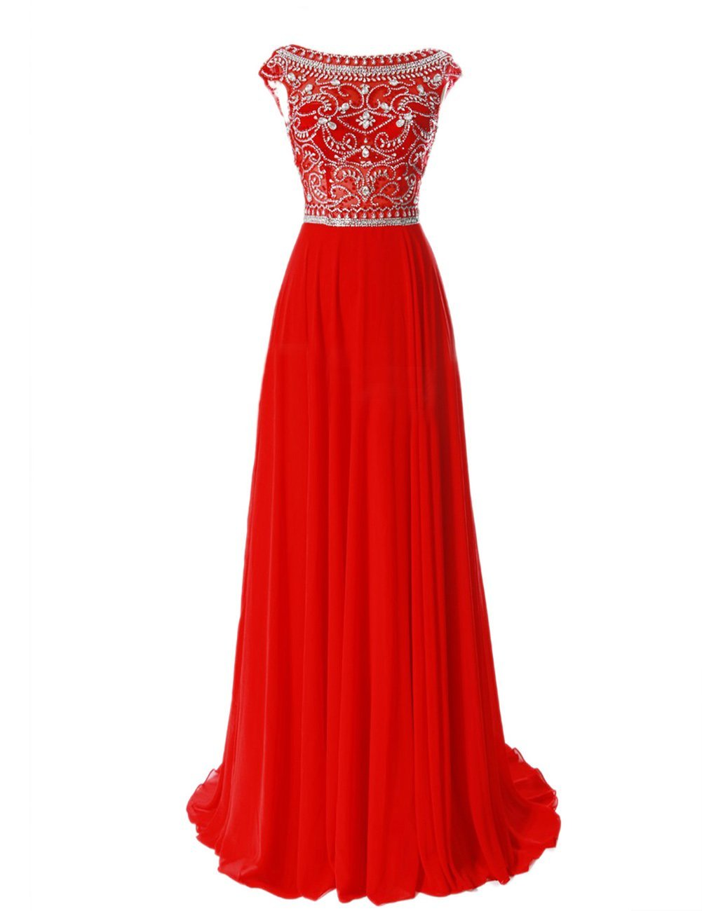 A-line prom dresses Elegant Floor Length Bridesmaid Cap Sleeve Prom Evening Dresses