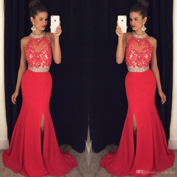 Prom Dresses Long Crystals Beaded Halter Neck Lace Appliques Bodice Open Back Mermaid Side Split Chiffon Party Gowns