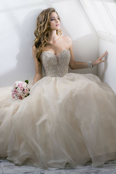 Shiny Rhinesoned Champagne Ball Gown Sweetheart Neckline Floor ...
