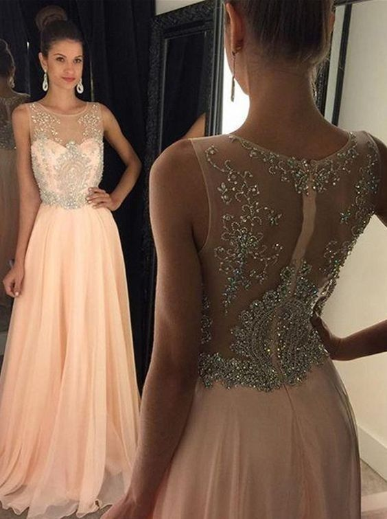Newest Long Cap Sleeves Beading Prom Dressesmodest Prom Dresses