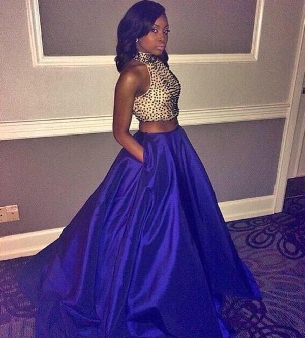 2016 Royal Blue Prom Dresses,Two Pieces Prom Dress,Long Party Dresses,Modest Evening Dresses,Charming Prom Gowns