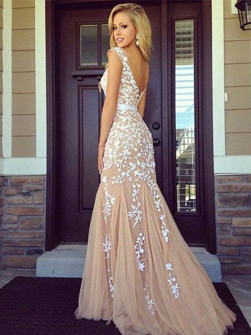 Champagne lace decals bridesmaid dresses prom dresses special occasions dress