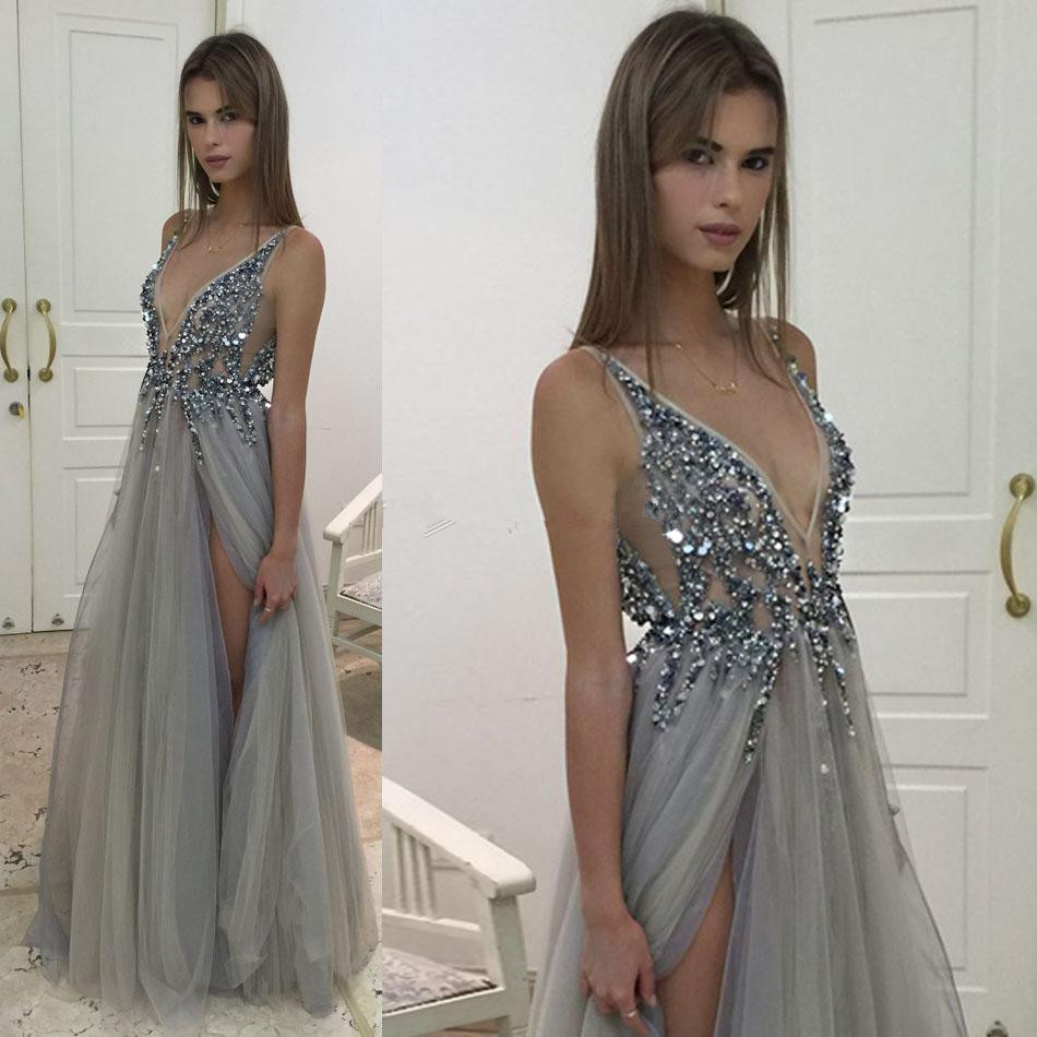 3487f32f00c55 A-line Prom Dresses,V-neck Prom Dresses,Backless Prom Dresses,Evening  Dresses,Sparkly Prom Dresses,Prom Dress 2017,Prom Dresses