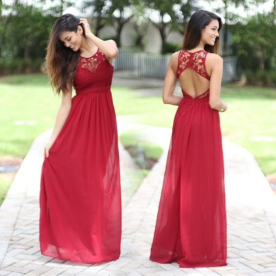 Unique Lace Prom Dress With open backs Formal Gown,backless red Evening Gowns Evening Dresses For Teens