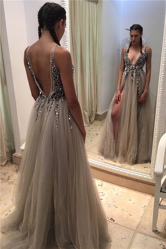 d0ae6139366 Newest Beading A-Line Prom Dresses