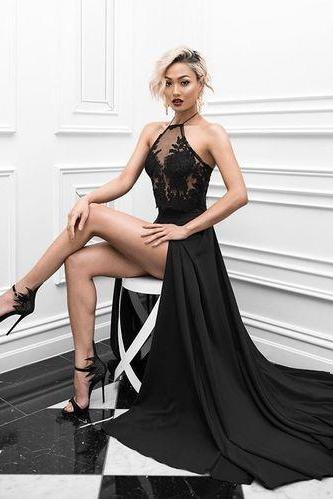 Sexy Prom Dress,Black Prom Dress,High Slit Evening Dress,Long Evening Dresses,Fashion Prom Dress,Sexy Party Dress,Custom Made Evening Dress