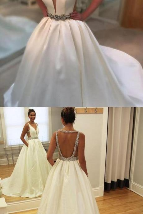 White Backless Bridal Dress,Beaded Ball Gown,Custom Made Evening Dress,17306