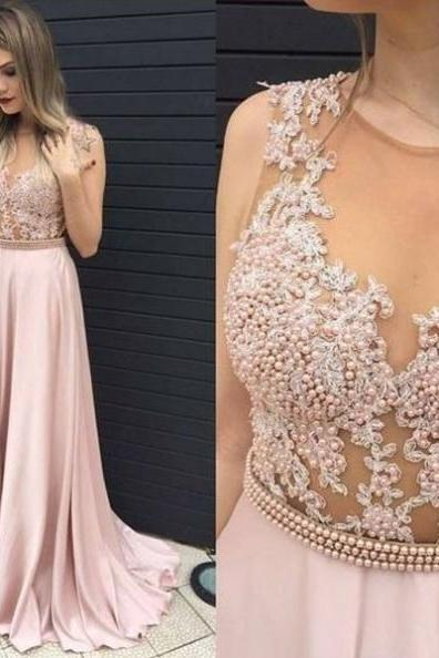 Pearls Appliques A-line Prom Dresses 2017