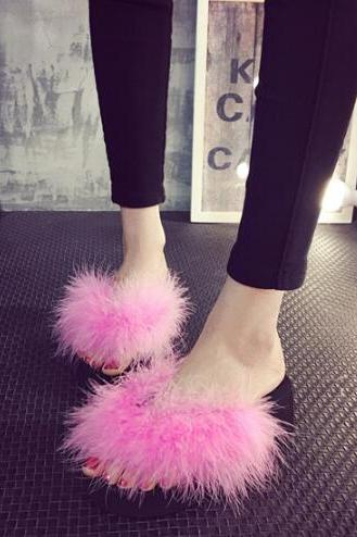 Direct real ostrich hair slippers female 2017 summer new goods with the word drag leisure plush slippers