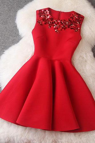Designer Sequined Sleeveless Dress For Autumn&Winter - Red