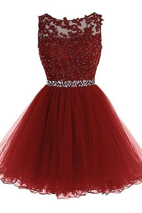 Tideclothes Short Beaded Prom Dress Tulle Applique Homecoming Dress Burgundy