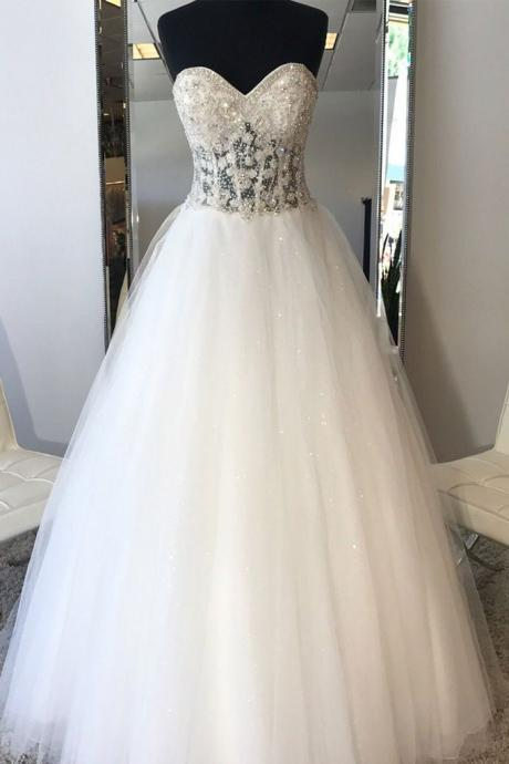 white sweetheart neck tulle beads long wedding dress, bridal gown wedding dress