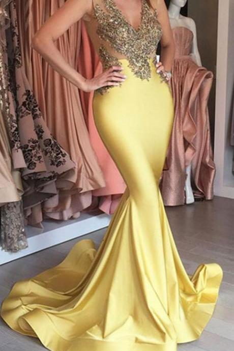 Mermaid V-neck Yellow Evening Dress Stretch Sleeveless Sexy Appliques Beaded Prom Dress