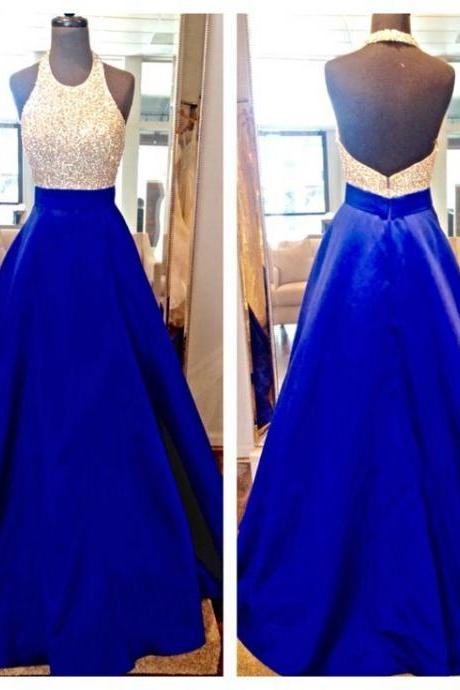New Design Long Royal Blue Prom Dresses,Halter Beading Charming Prom Gowns,Modest Evening Dresses