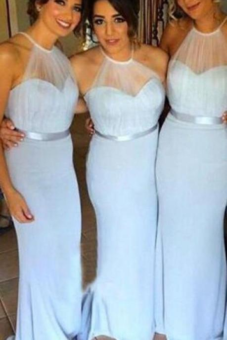 Light Blue Halter Sheath Mermaid Prom Dresses,Charming Bridesmaid Dresses,Pretty Bridesmaid Gowns With Belt DR0047