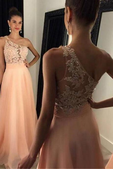 A-line One shoulder Lace Appliqued Prom Dress,Blush Pink Chiffon Formal Dresses,Senior Prom Gown