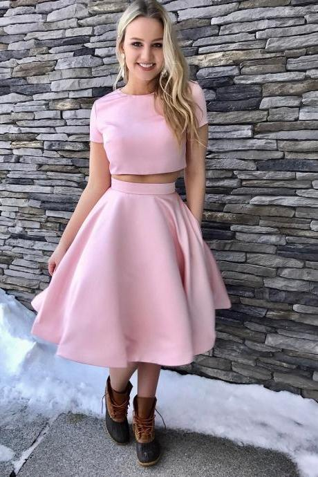 Two Piece Short Pink Knee Length Homecoming Dress with Pockets prom dresses