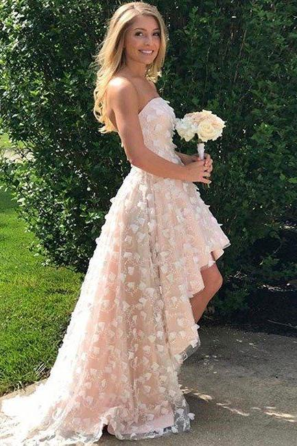 Elegant Sweetheart Tulle High Low Prom Dress With Appliques evening dresses