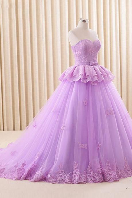 Lilac Prom Dresses Sweetheart Sweep Lace Edge Tulle Princess A Line Quinceanera Gowns for 15 16 years