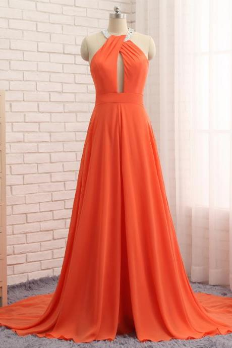 Cheap prom dresses 2018,Orange Hijab Evening Dresses With Hole On The Chest Halter Sleeveless Chiffon