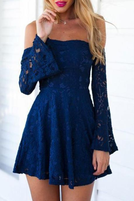 A-line Princess Long sleeve Elegance Lace Homecoming Dresses