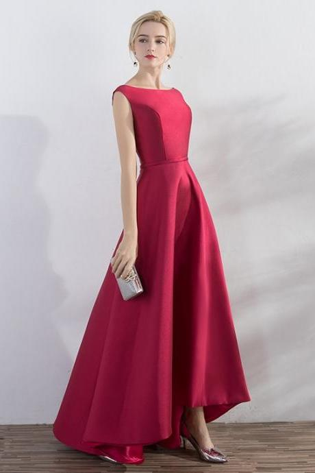 Simple Burgundy Prom Dress,Hi-low Evening Dress,Hi-low Burgundy Prom Gown