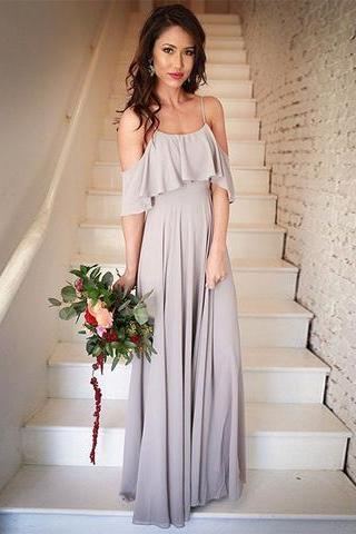 Simple A-Line Off Shoulder Long Chiffon Prom/Bridesmaid Dress